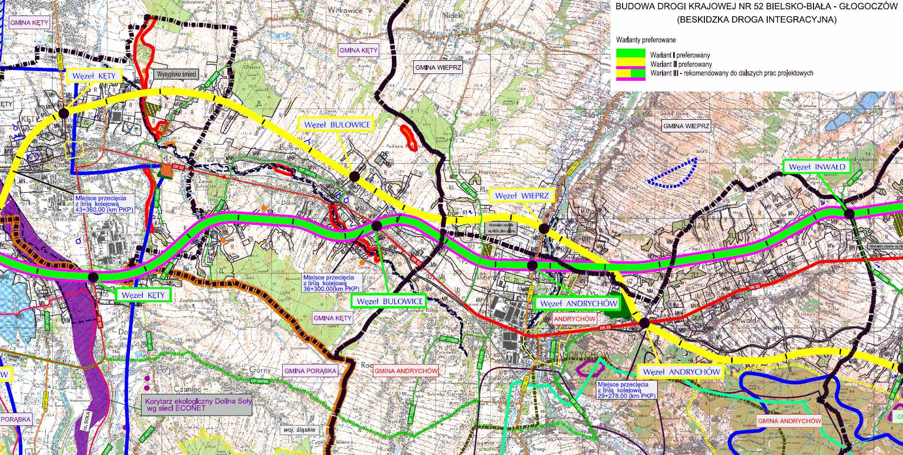 Droga ekspresowa S52 - mapa odc. Kęty - Andrychów