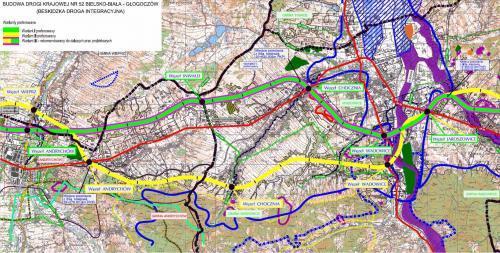 Droga ekspresowa S52 - mapa odc. Andrychów - Wadowice
