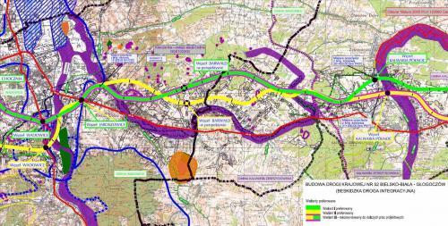 Droga ekspresowa S52 - mapa odc. Wadowice - Kalwaria