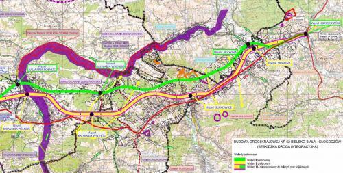 Droga ekspresowa S52 - mapa odc. Kalwaria - Głogoczów