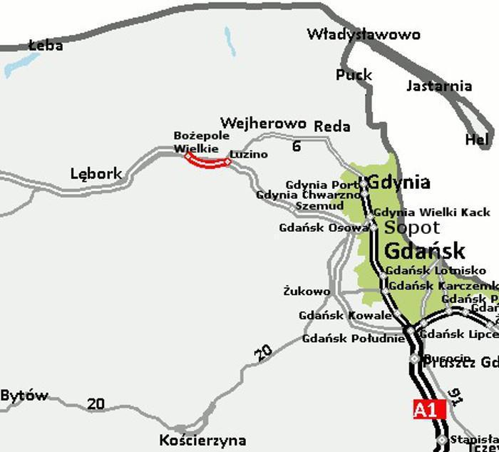 Mapa z lokalizacją odcinka drogi ekspresowej S6 Bożepole Wielkie - Luzino