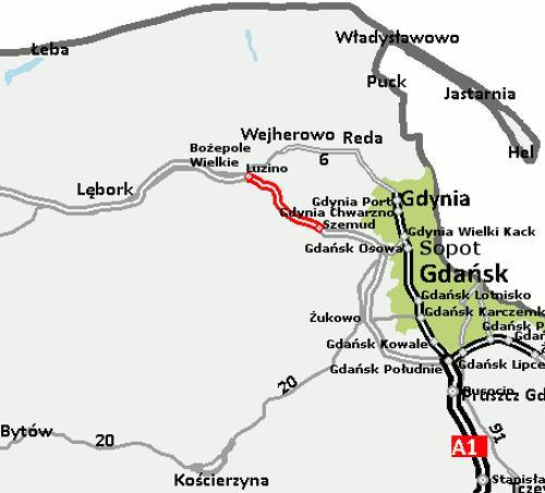 Mapa przebiegu drogi ekspresowej S6 Luzino - Szemud