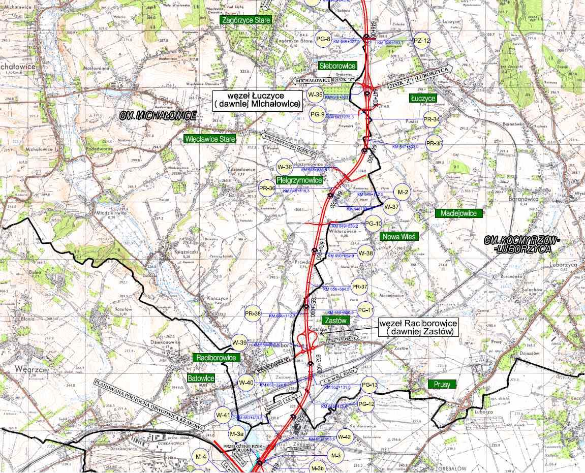 Mapa drogi S7 Kraków (Igołomska) - Widoma. Odc. Łuczyce - Raciborowice