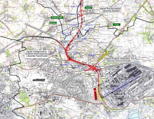 Mapa drogi S7 Kraków (Igołomska) - Widoma. Odc. Raciborowice - węzeł Igołomska
