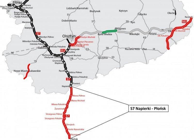 Mapa drogi ekspresowej S7 Napierki - Płońsk