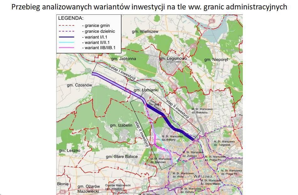 Mapa przebiegu trzech projetowanych wariantów przebiegu drogi ekspresowej S7 Warszawa - Czosnów