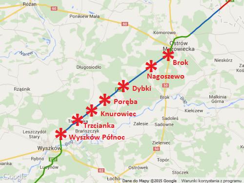 Mapa przebiegu drogi ekspresowej S8 Wyszków - Ostrów Maz.