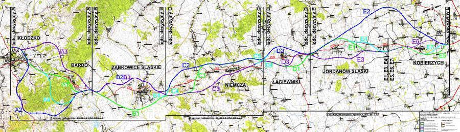 Mapa przebiegu drogi krajowej nr 8 Kłodzko - Wrocław