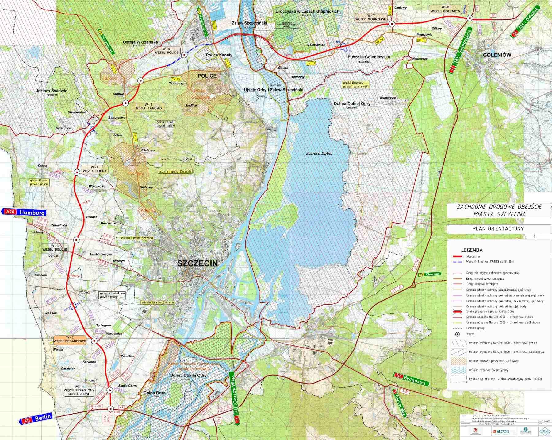 Zachodnia Obwodnica Szczecina Mapa Przebiegu Drogi Ekspresowej