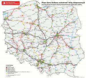Mapa dróg, które powstaną w ramach rozszerzonego PKBD 2014-2023 (2025 r.)