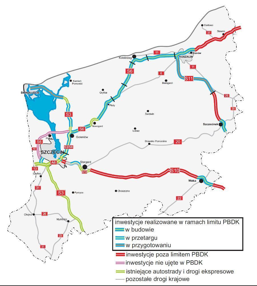 Mapa inwestycji w woj. zachodniopomorskim: budowa S6, S3, S11 i obwodnic