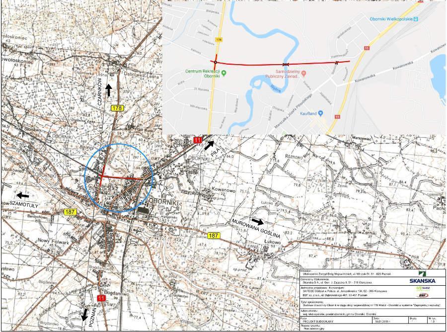 Mapa przebiegu obwodnicy Obornik w ciągu DW178