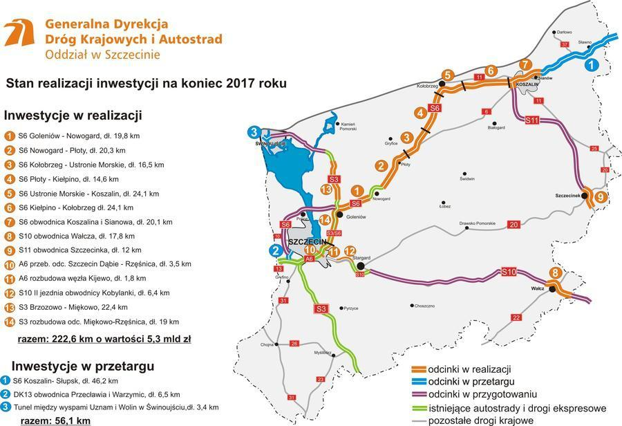 Mapa realizacji nowych dróg ekspresowych i obwodnic w woj. zachodniopomorskim w 2017 r