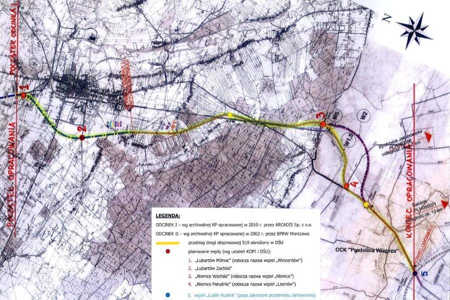 Mapa przebiegu wariantów drogi ekspresowej S19 Lubartów - Lublin