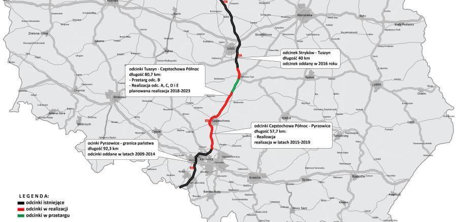 Mapa-autostrada-a1-realizacja-odcinki