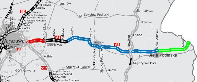 Mapa z odcinkami realizacyjnymi autostrady A2 Warszawa - Terespol
