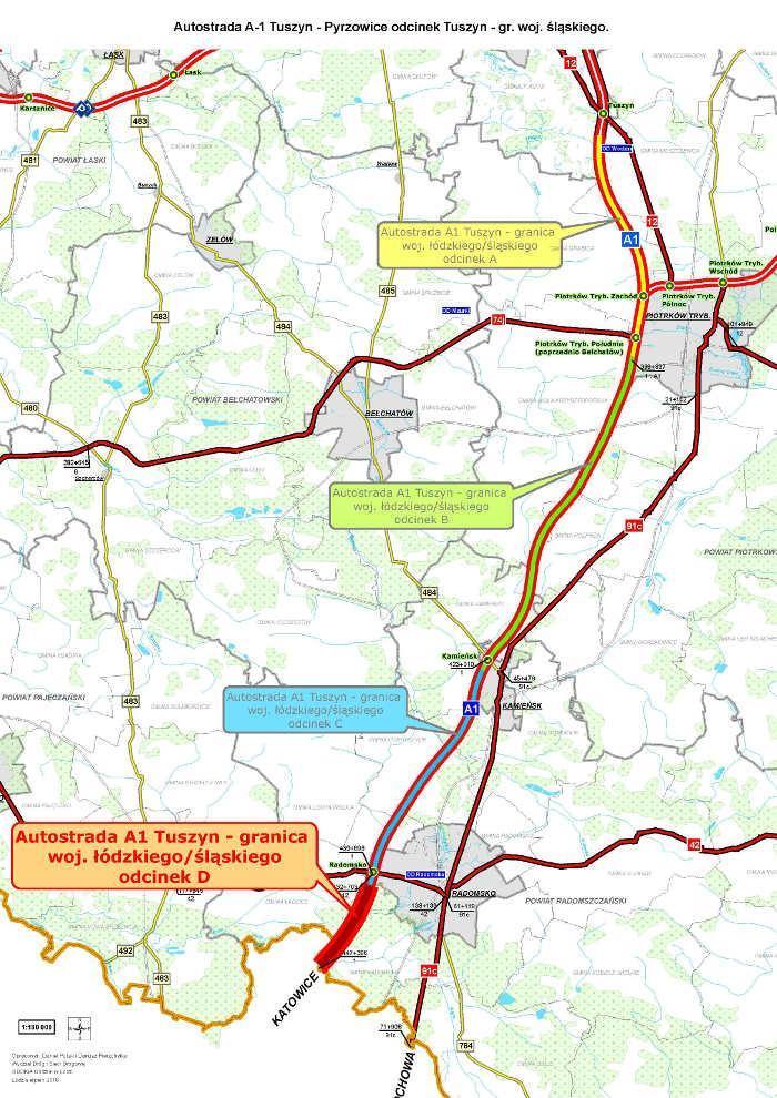 Mapa autostrady A1 Tuszyn - granica woj. łódzkiego i śląskiego