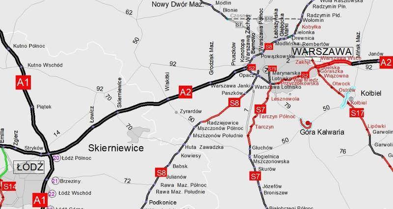 Nowy pas na autostradzie A2 zostanie dobudowany od węzła Łódź Płn. do Konotopy pod Warszawą