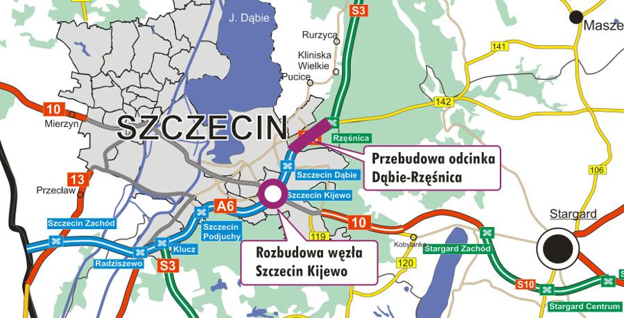 Przebudowa autostrady A6 - mapa odcinka Szczecin Dąbie – Rzęśnica i węzła Szczecin Kijew
