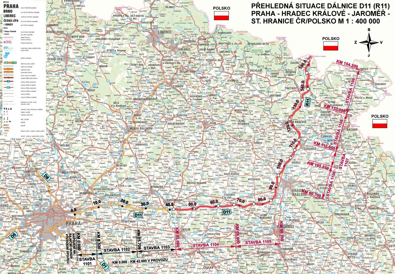 Mapa przebiegu czeskiej autostrady D11, która połączy się z drogą ekspresową S3