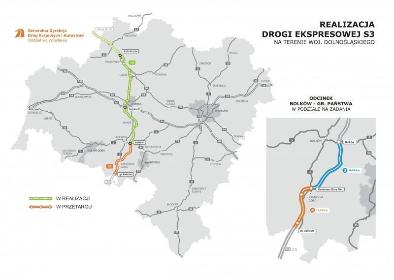 Mapa realizowanych odcinków drogi ekspresowej S3 z Bolkowa do Lubawki