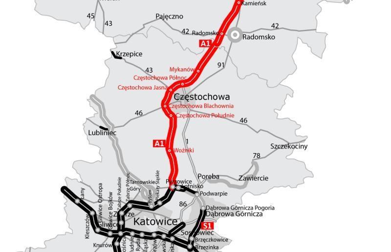 Autostrada A1 - obwodnica Częstochowy - mapa trasy