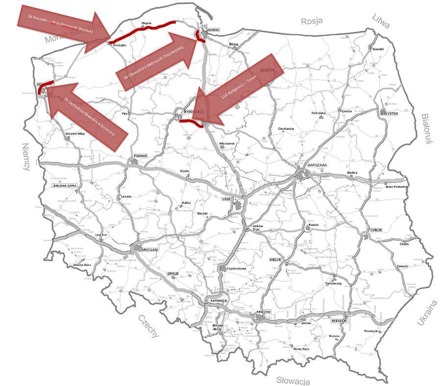 Mapa z lokalizacją kluczowych odcinków dróg ekspresowych S6 i S10 przewidzianych do realizacji