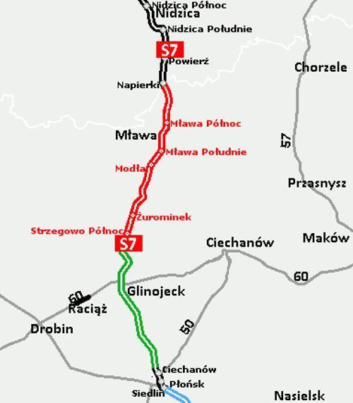 Mapa budowanej drogi ekspresowej S7 Napierki - Płońsk