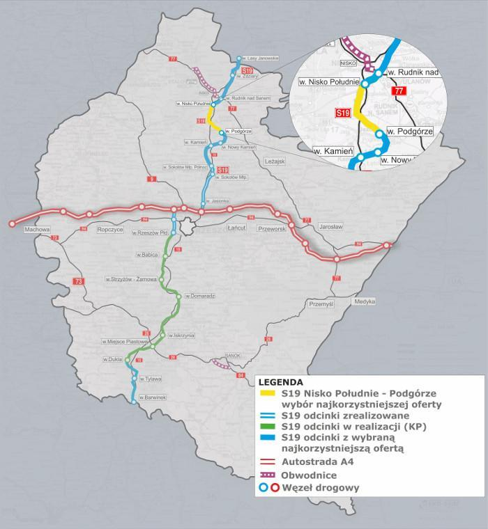 Droga ekspresowa S19 na Podkarpaciu - mapa odcinka Podgórze - Nisko