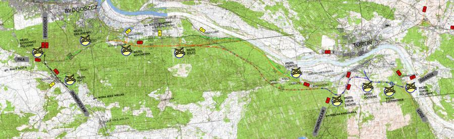 Mapa przebiegu drogi ekspresowej S10 Bydgoszcz - Toruń