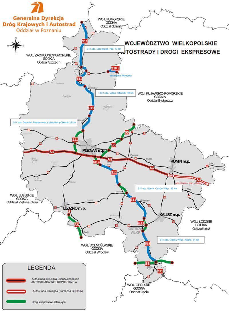 Mapa odcinków realizacyjnych drogi ekspresowej S11 w woj. wielkopolskim