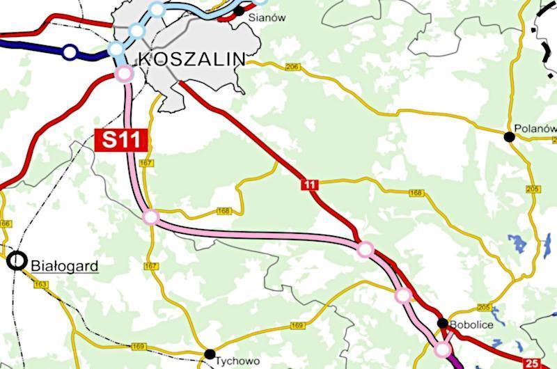 Mapa drogi ekspresowej S11 Koszalin - Bobolice
