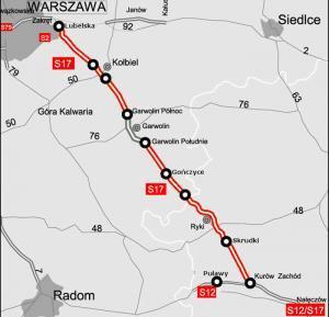 Mapa drogi ekspresowej S17 Warszawa - Kurów (Lublin) - S12 Puławy