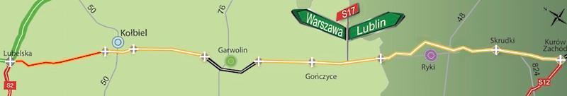 Droga ekspresowa S17 Warszawa - Lublin - mapa poglądowa