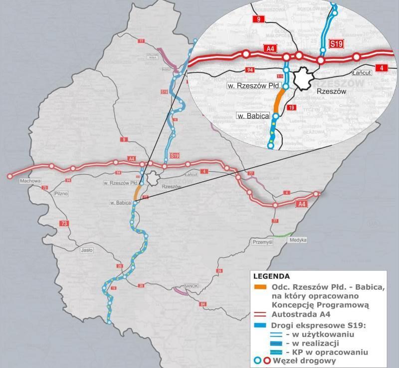 Mapa drogi ekspresowej S19 Rzeszów - Barwinek z lokalizacją odc. Rzeszów - Babica