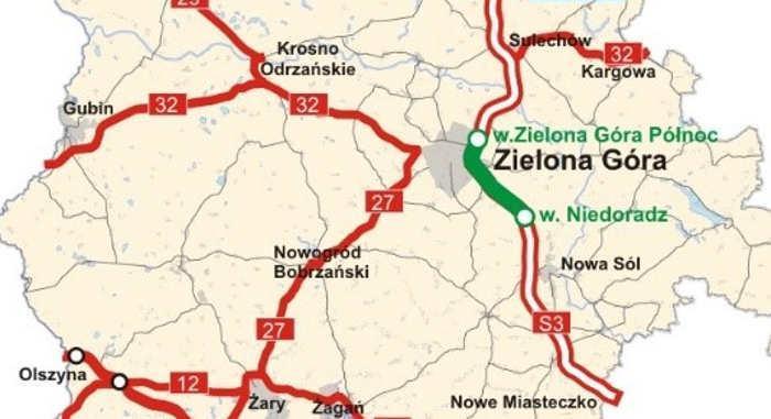 Mapa drogi ekspresowej S3 Zielona Góra - Niedoradz