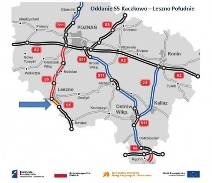 Mapa odcinka drogi eskpresowej S5 - oddanie odcinka Kaczkowo - Leszno