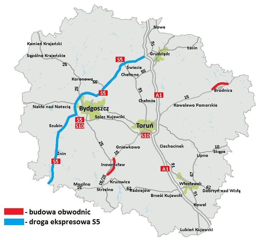Mapa przebiegu drogi ekspresowej S5 i nowe obwodnice w woj. kujawsko-pomorskim
