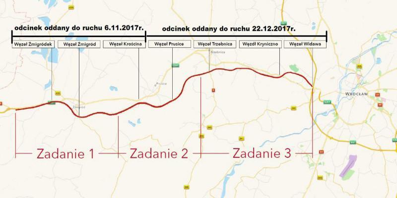 Mapa zrealizowanych odcinków drogi ekspresowej S5 w woj. dolnośląskim Wrocław - Korzeńsko