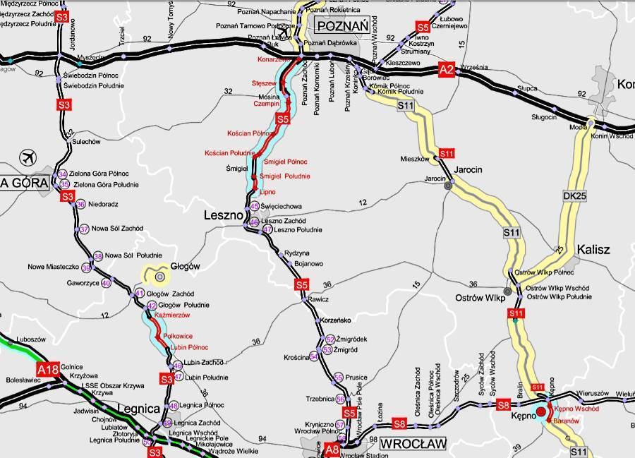 Mapa drogi ekspresowej S5 Poznań - Wrocław - odcinki oddane i w budowie