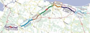 Mapa drogi ekspresowej S6 Szczecin - Koszalin z podziałem na odcinki realizacyjne