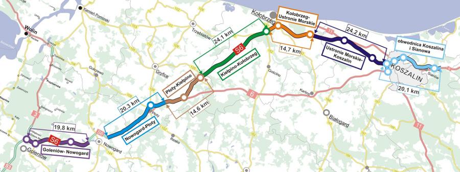 Mapa przebiegu drogi ekspresowej S6 Goleniów - Koszalin