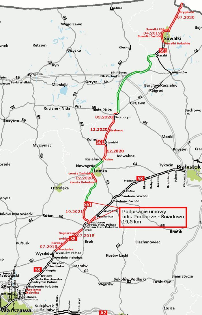 Mapa drogi ekspresowej S61 - terminy oddania odcinków Ostrów Maz. - Budzisko