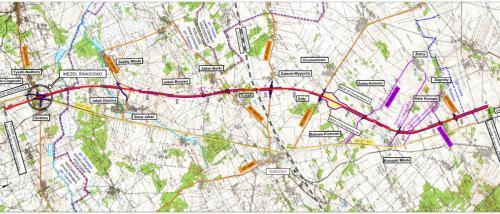 Droga ekspresowa S61 - mapa odcinka Śniadowo - Łomża