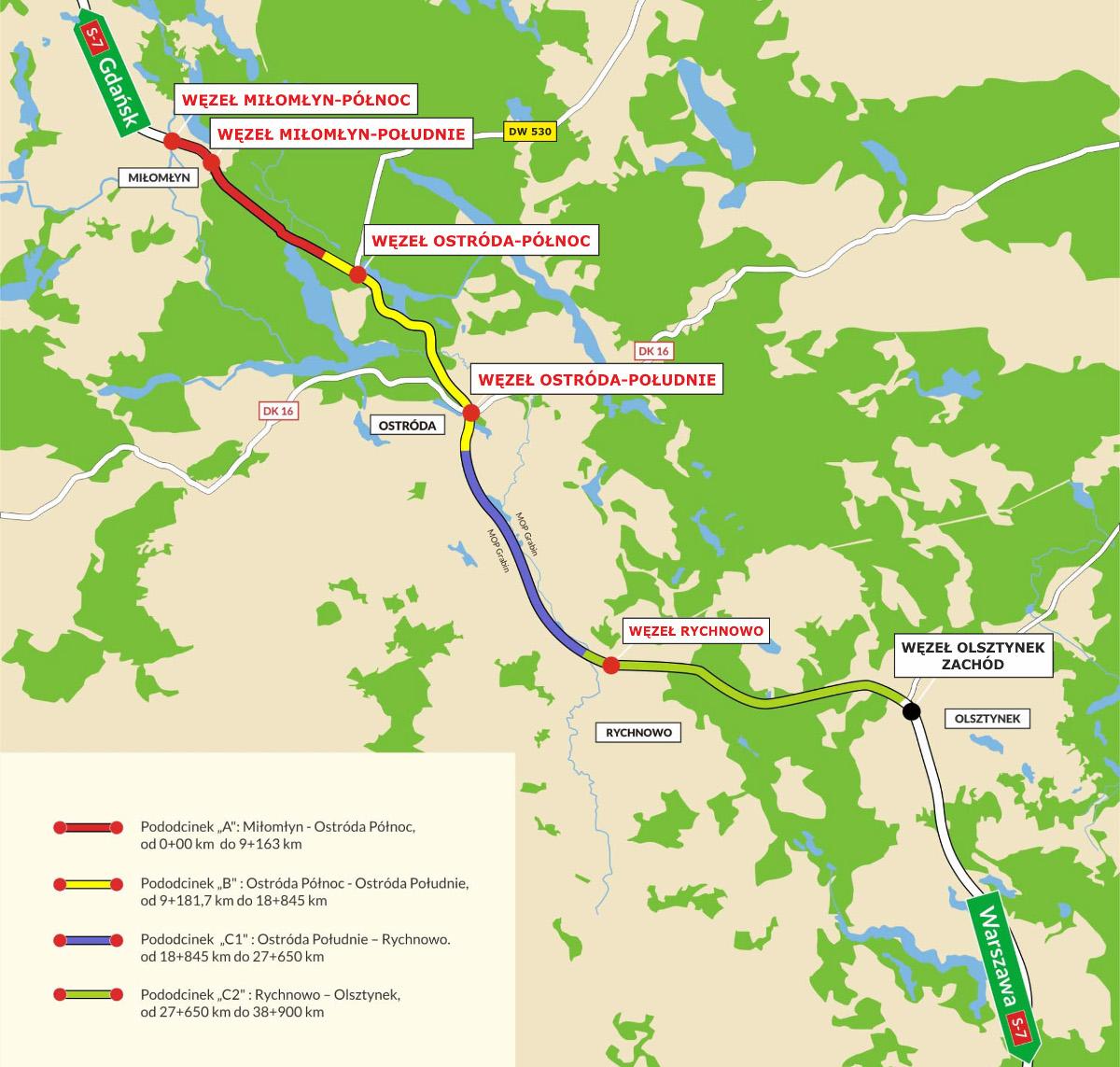 Droga ekspresowa S7 Miłomłyn - Olsztynek: mapa przebiegu