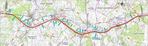 Mapa przebiegu drogi S7 na odcinku Strzegowo - Pieńki