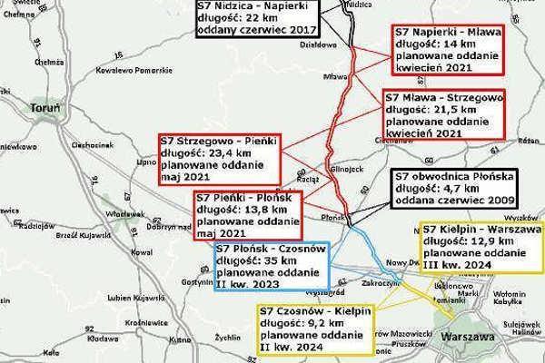 Mapa z odcinkami realizacyjnymi Warszawa - Płońsk - Napierki
