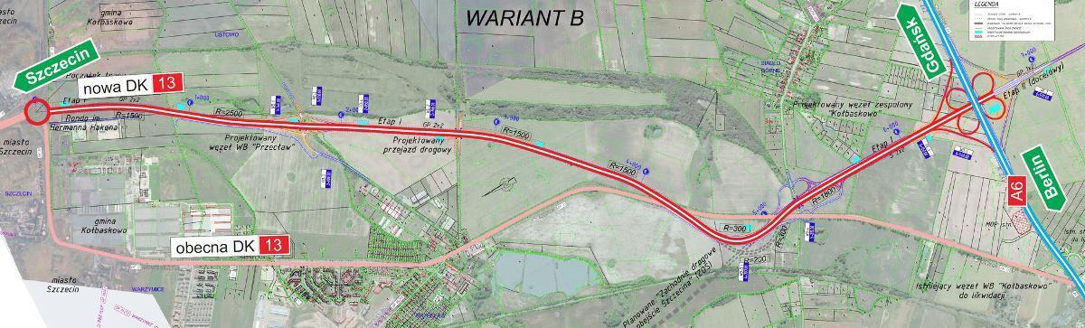 Mapa przebiegu obwodnicy Warzymic i Przecławia - drogi łączącej Szczecin z A6