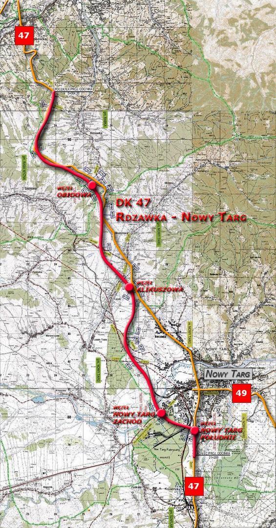 Mapa przebiegu drogi krajowej DK47 Zakopianki Rdzawka - Nowy Targ