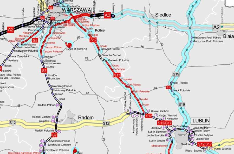 mapa drogi ekspresowej S17 Warszawa - Lublin